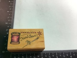 Rubber Stamp Hand Sewn By Tag Label Spool of Thread Stitches Sewing Comotion  - $4.49