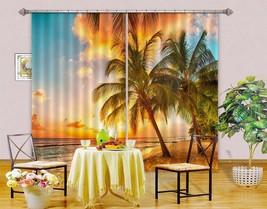 3D Dusk Palm Beach Sky 101 Blockout Photo Curtain Print Curtains Drapes ... - $177.64+