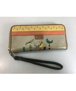 Fossil Key-Per Birds Zip-Around Wallet Wristlet Clutch Coated Canvas 7 1... - $41.65