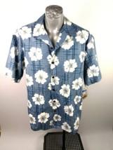 Hilo Hattie Camp Shirt Blue Grey White Floral Sz XL Surfing Hawaiian Alo... - $45.99