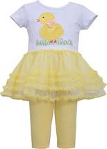 Bonnie Jean Baby Girl 12M-24M Yellow White Baby Chick Tutu Dress Legging Set image 1