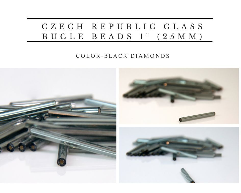 "Primary image for Czech Republic Glass Bugle Beads 1"" (25mm) 100 pcs color-Black Diamond"