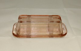 New Pale Pink Butter Dish Depression Glass Retro Style Design - $14.00