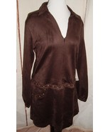 Liberty Garden Brown Shift Dress Faux Suede Metal Trim Long Sleeve Lagen... - $69.27
