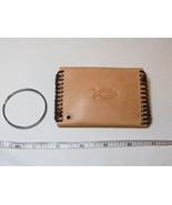 "Handmade leather coin key holder lite tan w/ brown 4"" X 2 3/4"" Praying h... - $24.74"
