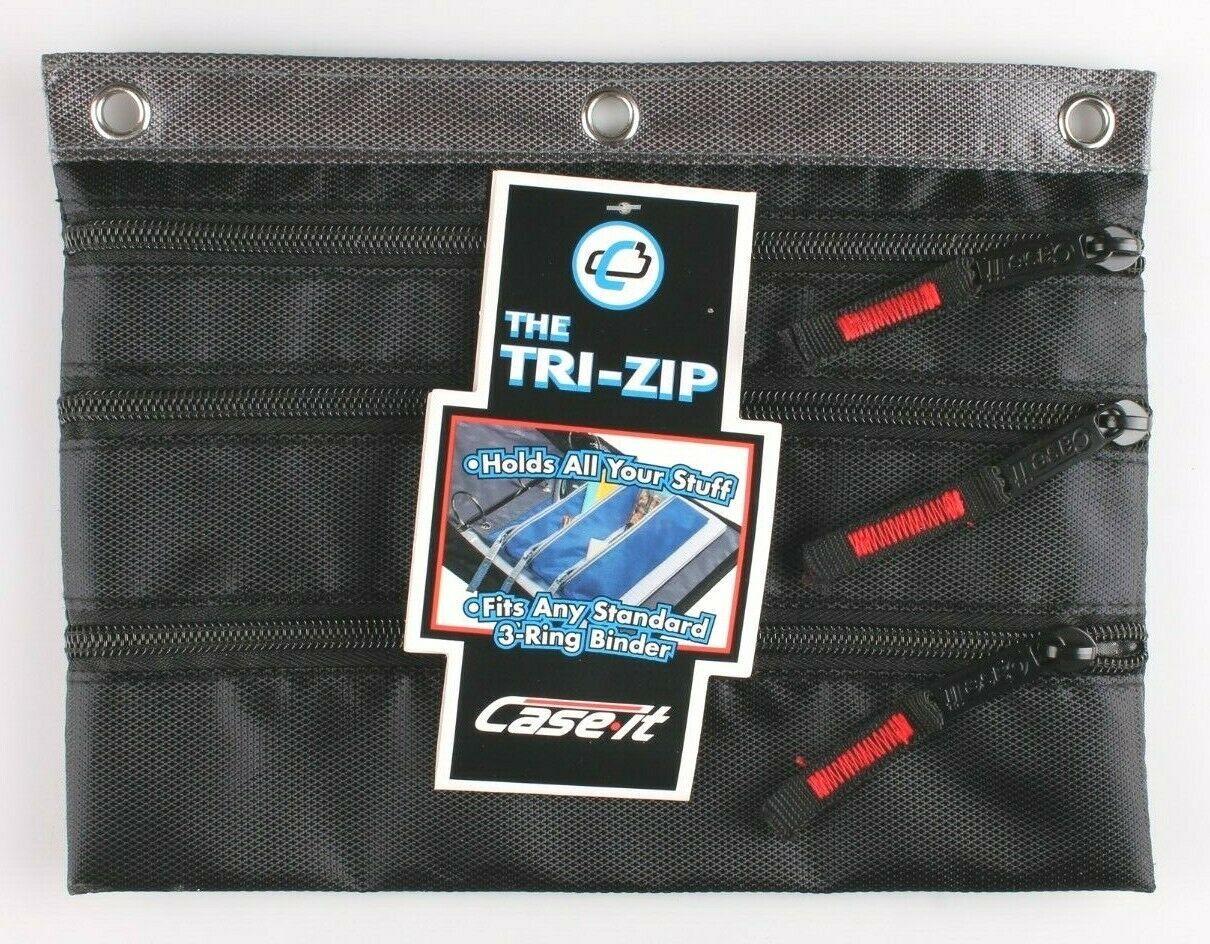 Case-It Black 3-Ring Binder Zipper Pen Pencil Marker Case School Supplies