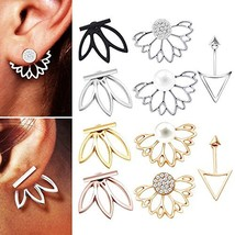 10 pairs ear jacket stud lotus flower earrings for women- jewelry set - $14.65