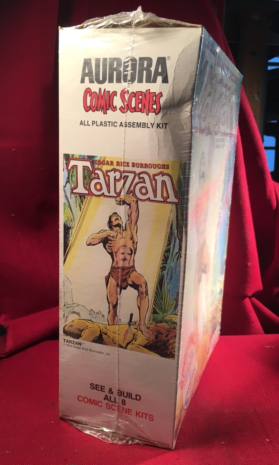 Tarzan Aurora 1974 All Plastic Assembly Kit 1974 Sealed In Box. Comic, Backdrop