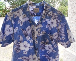 XL Naniloa Hawaiian Aloha Shirt Made in Hawaii BLUE HIBISCUS Design - $16.99