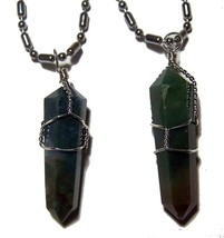 MOSS AGATE WIRE WRAPPED CUT STONE STAINLESS STEEL CHAIN NECKLACE mens wo... - $6.27