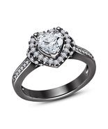 925 Sterling Silver Heart Shape White Sim Diamonds Black GP Engagement Ring - $54.36