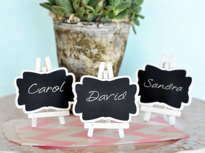 Set of 3 Chalkboard Easel Wedding Place Card Holders Favors Blackboard DIY Party - $6.98