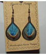 Teardrop Earrings Thread Blue Brown Tan New Spirit of Nature Handcrafted - $13.85