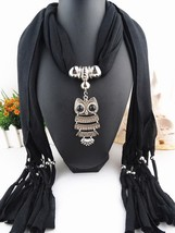 Women Black Color Scarf Pendant Necklace Tassel Fringe Shawl Long Size J... - $8.25
