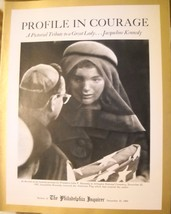 PROFILE IN COURAGE:A TRIBUTE TO JACQUELINE KENNEDY PHILA INQUIRER 12/22/63 - $9.99