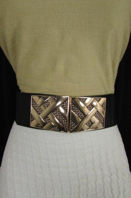 Nero,da Donna Elastico Moda Cintura Vita Metallo Oro Strisce Fibbia Quadrata S M image 7