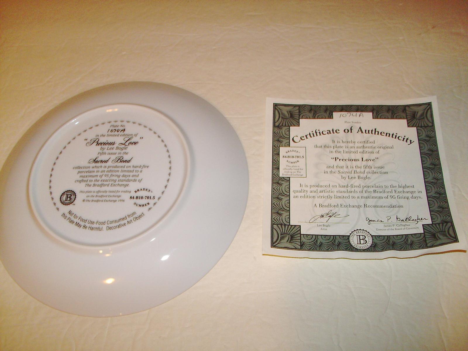 Bradford Exchange Collector Plate: Precious Love -Lee Bogle- 84-B10-701.5 + COA