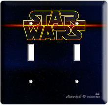 STAR WARS DEEP SPACE DARK LOGO EMBLEM DOUBLE LIGHT SWITCH WALL PLATE COV... - $13.99