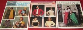 3 Vtg Crochet Booklets Poncho Shawl Skirt Hat Scarf Mittens Crochet-a-Be... - $9.40