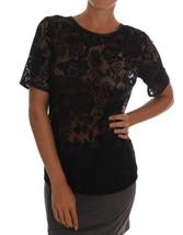 Dolce & Gabbana Black Floral Lace Blouse Top 141342 - $262.15
