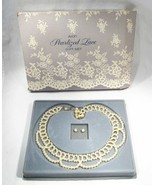 Vintage '87 Avon Pearlized Lace Necklace & Earrings Gift Set Original Bo... - $33.77
