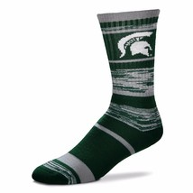 NCAA Michigan State Spartans Logo RMC Stripe Mens Crew Cut Socks - Medium - $9.95