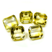5 PCS 9X7 MM Real Citrine Loose Gemstone Square Shape Faceted Yellow Sto... - $30.49