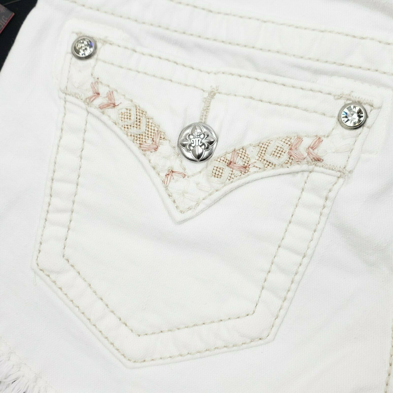 Miss Me Women's Signature Fringe Shorts JP7293H White 25 26 $89.50 Embroidered image 7