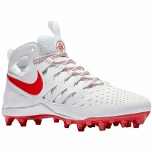 Nike Men's Huarache V Lax ~ White/Lt Crimson~ Mid Cut Molded Cleats - $49.95