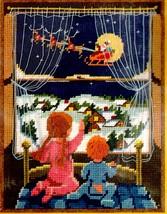 Sunset There Goes Santa Kids Waiting Christmas Eve Window Needlepoint Ki... - $48.95