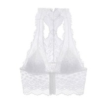 White Breathable Lace Triangle Cup Front Closure Bra Removable Padded - $42.75