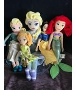 Gently Used Lot of Disney Plush Cinderella SNOW WHITE Ariel Frozen Elsa Stuffed  - $19.39