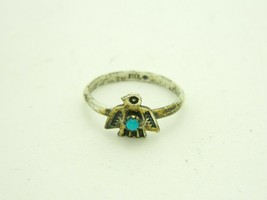 Southwestern .925 Sterling Silver Blue Turquoise Bird Statement Ring Siz... - $29.69