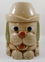 "Vintage Puppy Dog Cookie Jar Floppy Ears Hat 8"" Canister Container - $20.78"