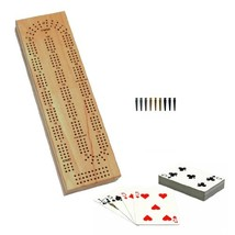 WE Games Cabinet Cribbage Set - Solid Wood Continuous 3 Track Board with... - $22.41