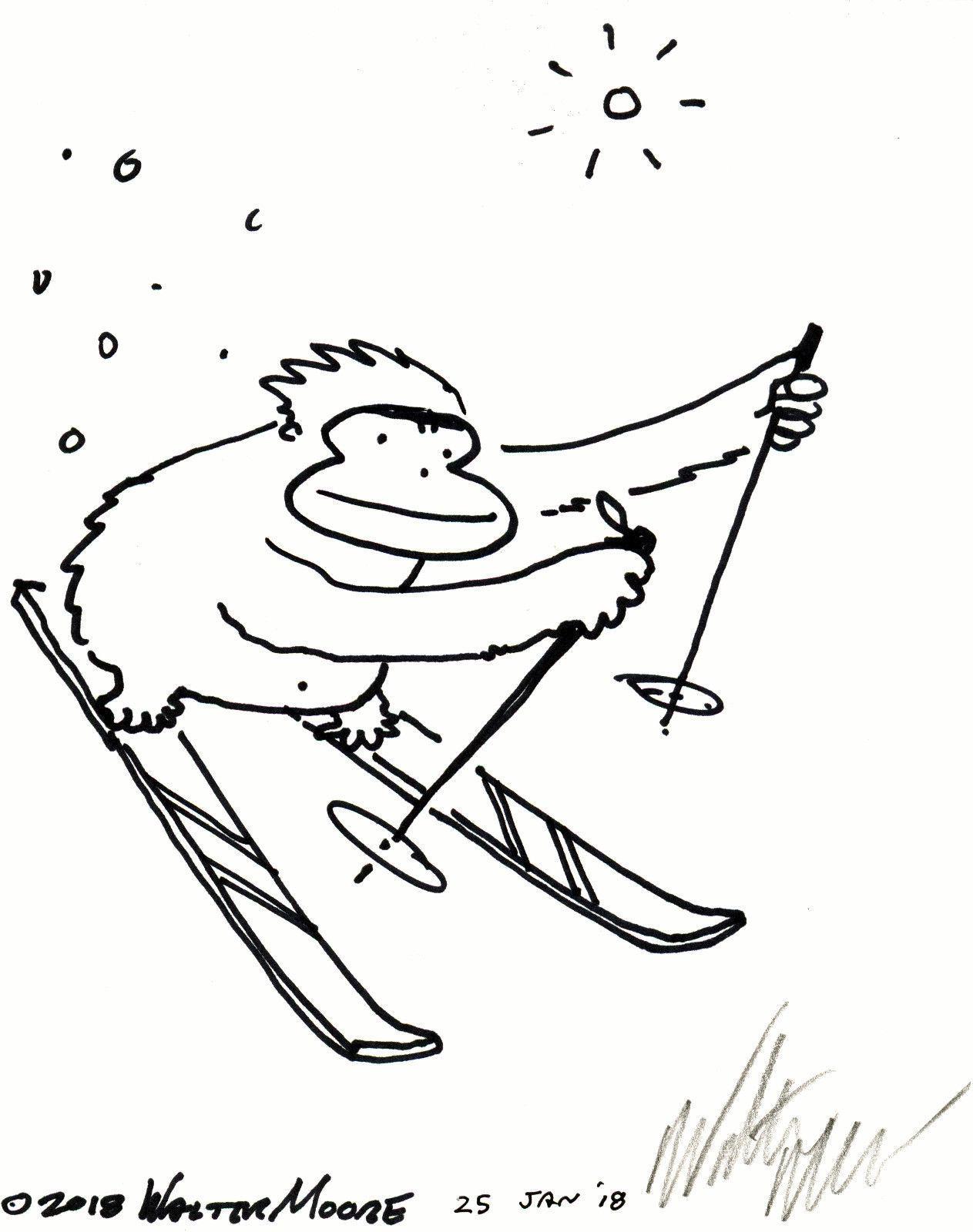 Ski, Ape, Ski!, Original Signed Cartoon by Walter Moore