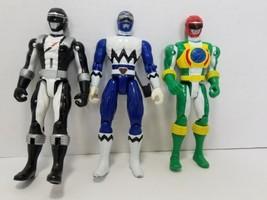 3 Bandai Mighty Morphin Power Rangers Black Blue Green Action Figures 2006 - $9.69