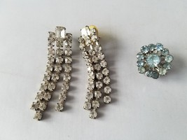 Vintage Fashion Jewelry Set Small Pin Brooch & Matching Earrings Rhinestone - $20.45