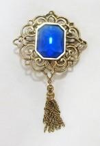 Vintage gold tone pin brooch blue rhinestone dangle tassel - $17.82