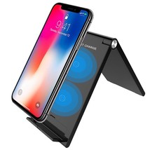 Foldable Qi Wireless Charger Fast Charge Stand for iphone X 8 8Plus Sams... - $31.07