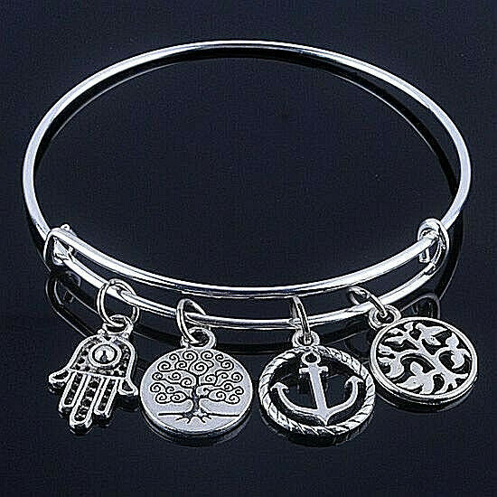 Primary image for Hand of God Four Charm Wire Bangle Bracelet Silver NEW