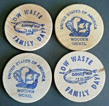 Vintage Good Year Wooden Nickel Low Waste Family Day Lot of 4 - $9.99