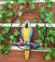 Blue And Yellow Macaw Parrot Perching on Branch Hanging Decor Home Patio... - $34.99