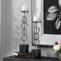Two New Modern Pillar Esme Nickle Plated Functional Candle Holders Uttermost - $349.80