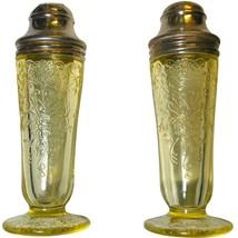 Hazel Atlas Florentine #2 Yellow / Topaz / Canary Salt and Pepper Shakers - $74.99