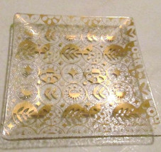 Vintage 1960's Georges Briard Glass Tray with 22k Gold Leafing Icons & S... - $19.99