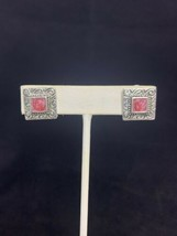Silver Tone And Pink Enamel Clip On Earrings (2091) - $5.00
