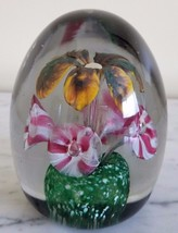 Vintage Yellow Brown Pink White Trumpet Flower Egg Shaped Paperweight - $59.39