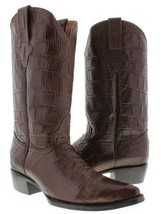 Mens Brown Original Western Full Crocodile Big Belly Design Leather Rodeo - €149,40 EUR
