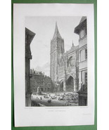 FRANCE Rouen Cathedral - 1823 Copperplate Antique Print by Cpt Batty - $9.57